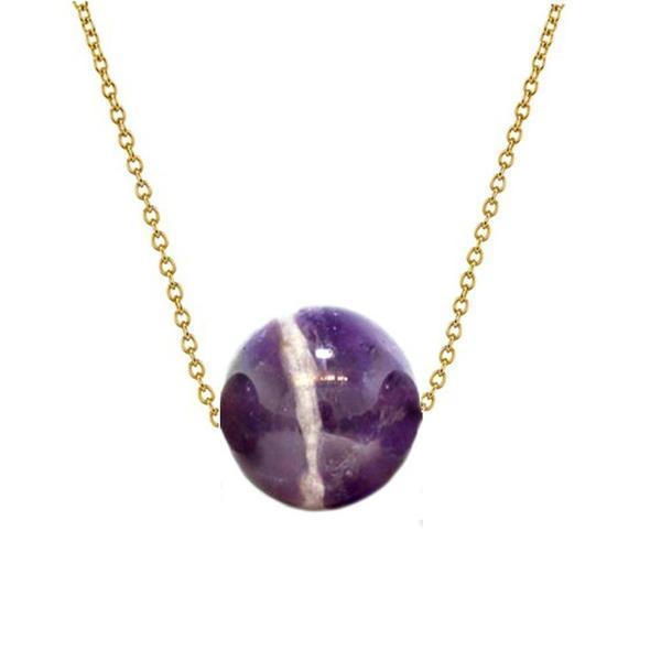 Colier Aur 14 karate cu Ametist de 12 mm – Cadouri si perle
