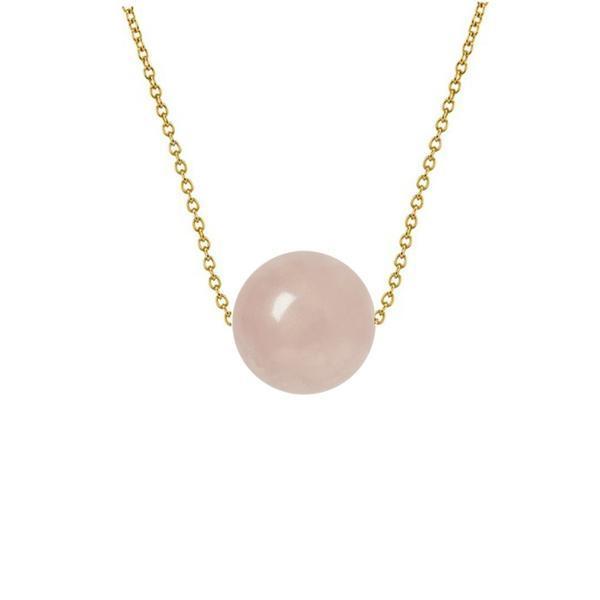 Colier Aur 14 karate cu Cuart Roz de 8 mm – Cadouri si perle