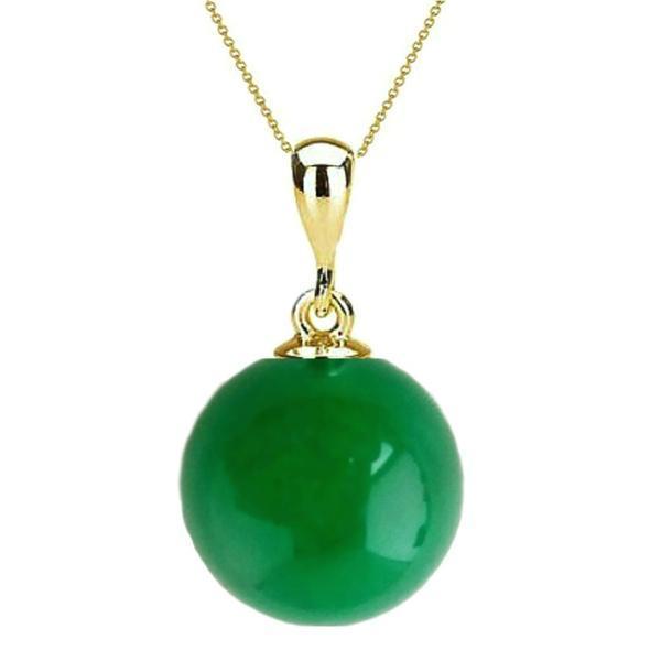 Colier Aur cu Pandantiv Aur si Jad Malaesian de 8 mm – Cadouri si perle
