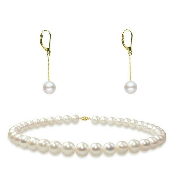 Set Aur 14k Colier si Cercei Lungi cu Perle Naturale – Cadouri si perle