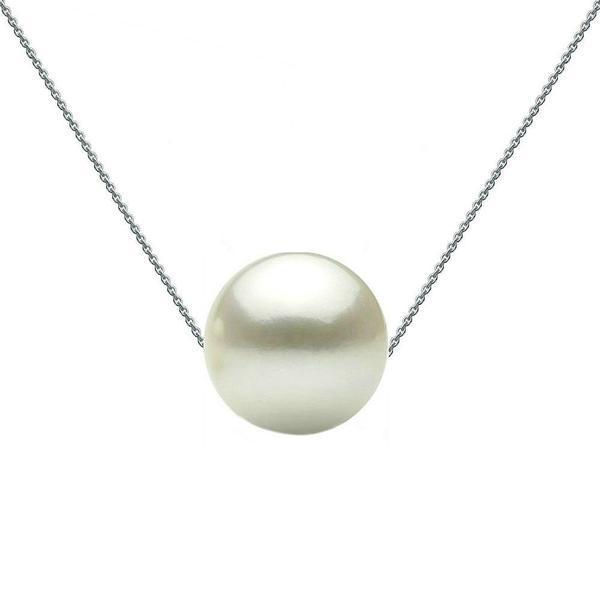 Colier Aur Alb cu Perla Naturala Premium Alba Mare – Cadouri si perle
