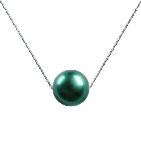 Colier Aur Alb cu Perla Naturala Premium Verde Smarald – Cadouri si perle