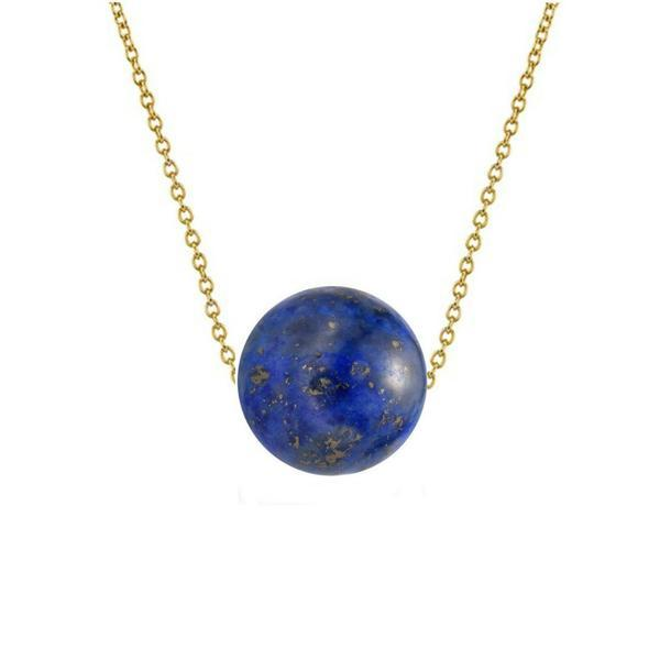Colier Aur 14 karate cu Lapis Lazuli de 12 mm – Cadouri si perle