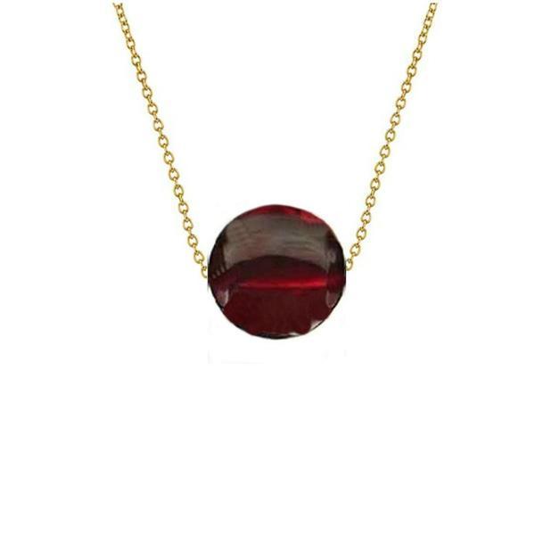 Colier Aur 14 karate cu Granat de 10 mm – Cadouri si perle