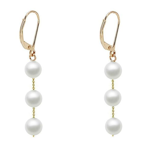 Cercei Aur Lungi Tripli cu Perle Naturale Akoya – Cadouri si perle