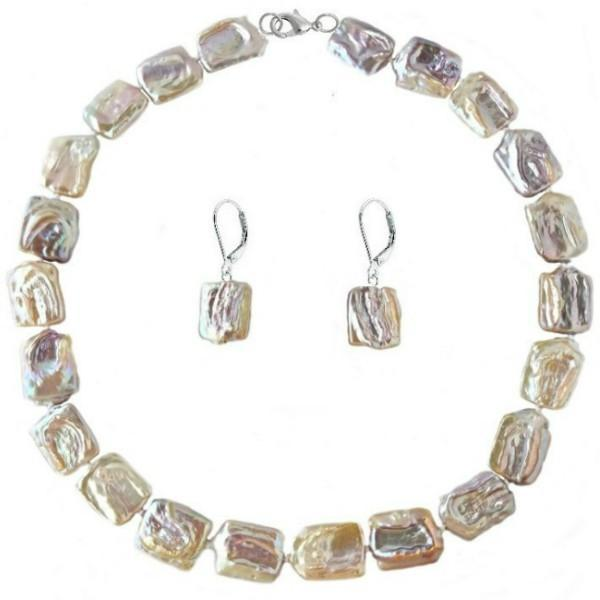 Set Argint 925 Colier si Cercei Perle Naturale Baroque – Cadouri si perle