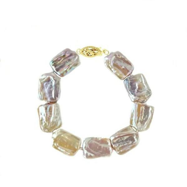 Bratara Perle Naturale Baroque cu Inchizatoare Aur – Cadouri si perle