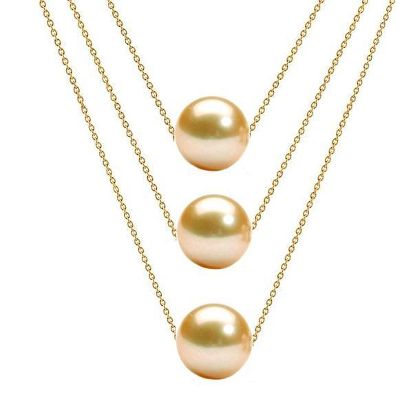 Colier Triplu Aur 14 karate si Perle Naturale Crem Premium – Cadouri si perle