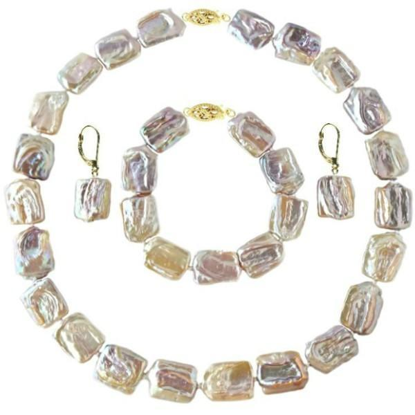 Set Aur 14k Colier Bratara Cercei Perle Naturale Baroque – Cadouri si perle