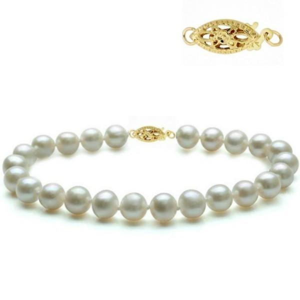 Bratara Aur Galben si Perle Naturale Albe Premium de 7-8 mm – Cadouri si perle