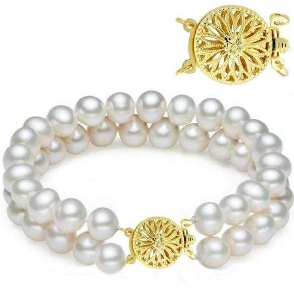 Bratara Dubla Aur Galben si Perle Naturale Albe Premium de 7-8 mm – Cadouri si perle
