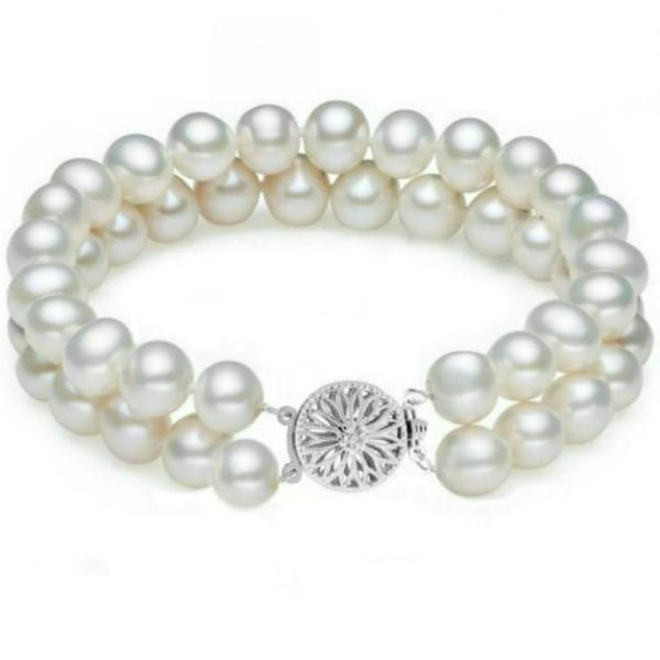 Bratara Dubla Aur Alb si Perle Naturale Albe Premium de 7-8 mm – Cadouri si perle