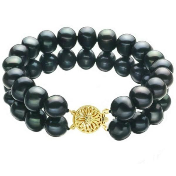 Bratara Dubla Aur Galben si Perle Naturale Negre – Cadouri si perle