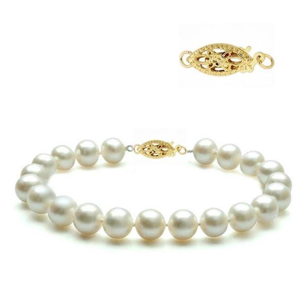 Bratara Aur Galben si Perle Naturale Albe Premium de 8-9 mm – Cadouri si perle
