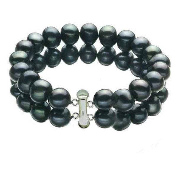 Bratara Dubla Perle Naturale Negre cu Inchizatoare de Argint – Cadouri si perle