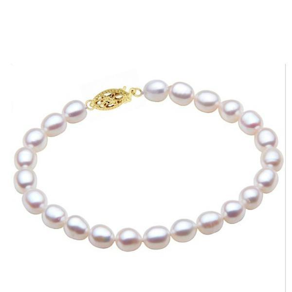 Bratara Perle Naturale Ovale Albe cu Inchizatoare Aur Galben – Cadouri si perle