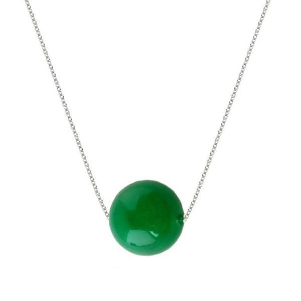 Colier Argint cu Jad Natural Malaesian de 12 mm – Cadouri si perle