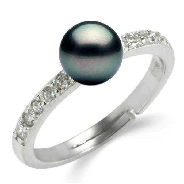 Inel Reglabil din Argint Pavat cu Zirconii si Perla Naturala Neagra – Cadouri si perle