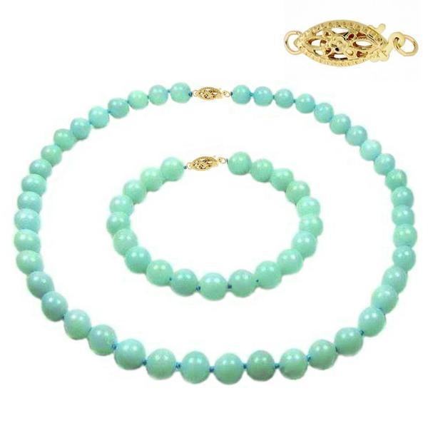 Set Amazonit de 8 mm cu Inchizatori Filigranate din Aur – Cadouri si perle