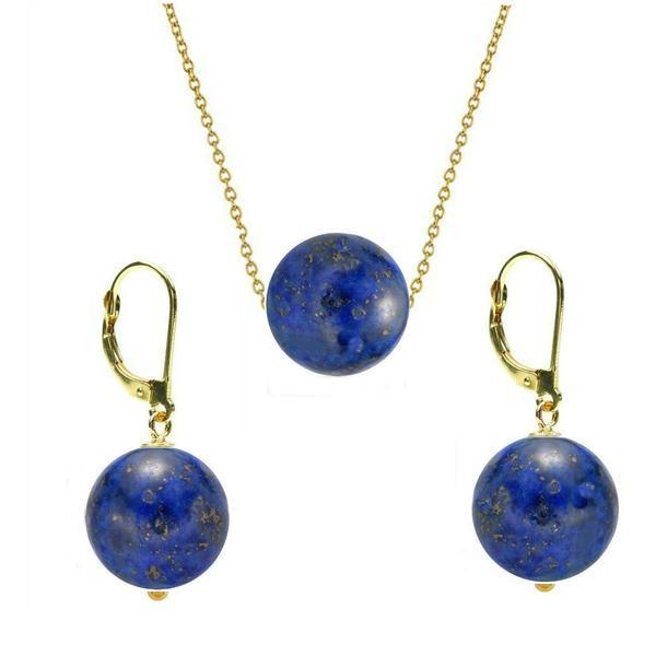 Set Aur 14 Karate si Lapis Lazuli de 10 mm – Cadouri si perle