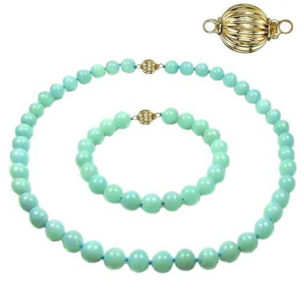 Set Amazonit de 8 mm cu Inchizatori Sferice din Aur – Cadouri si perle