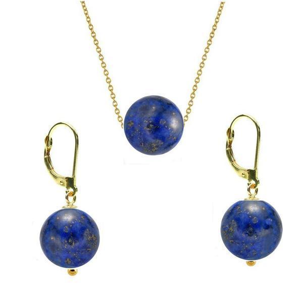 Set Aur 14 Karate si Lapis Lazuli de 8 mm – Cadouri si perle