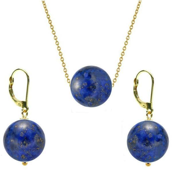 Set Aur 14 Karate si Lapis Lazuli de 12 mm – Cadouri si perle