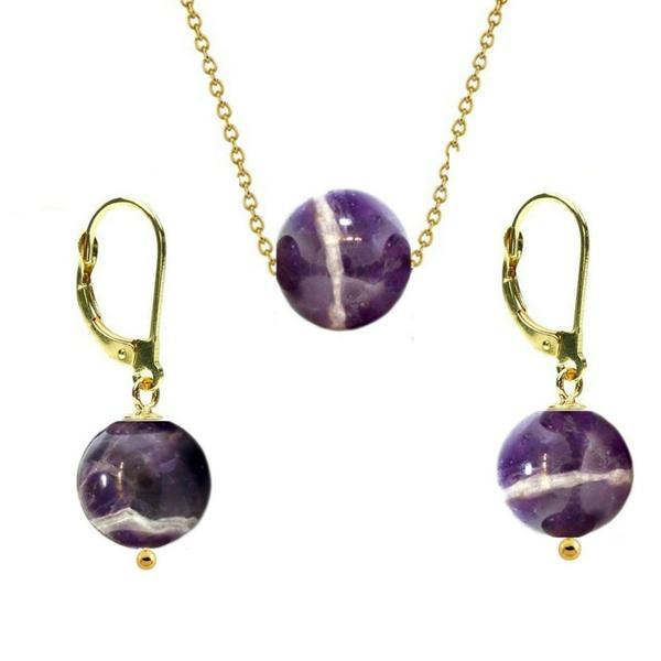 Set Aur 14 Karate si Ametist de 12 mm – Cadouri si perle