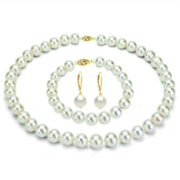 Set Business Colier, Bratara si Cercei Aur 14k si Perle Albe Premium – Cadouri si perle