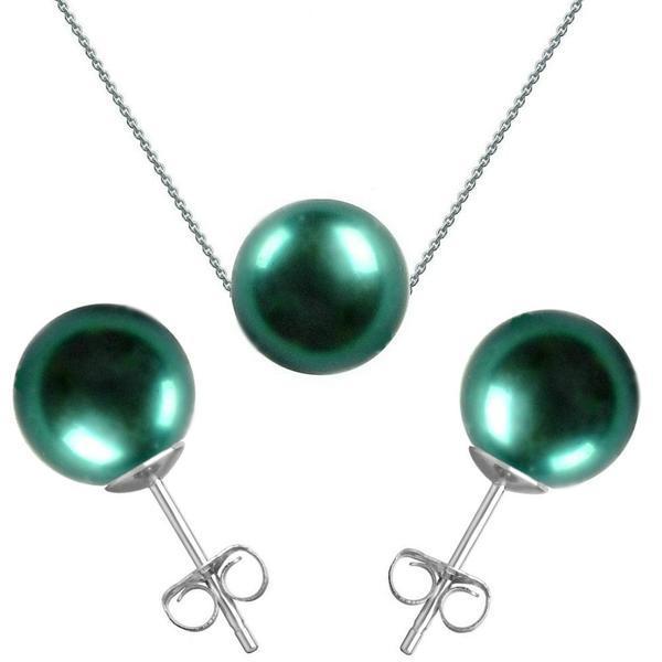 Set Aur Alb si Perle Naturale Premium Verde Smarald – Cadouri si perle