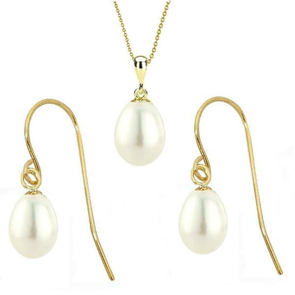 Set din Aur si Perle Naturale Teardrops Albe – Cadouri si perle