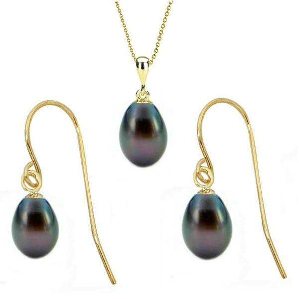 Set din Aur si Perle Naturale Teardrops Negre – Cadouri si perle