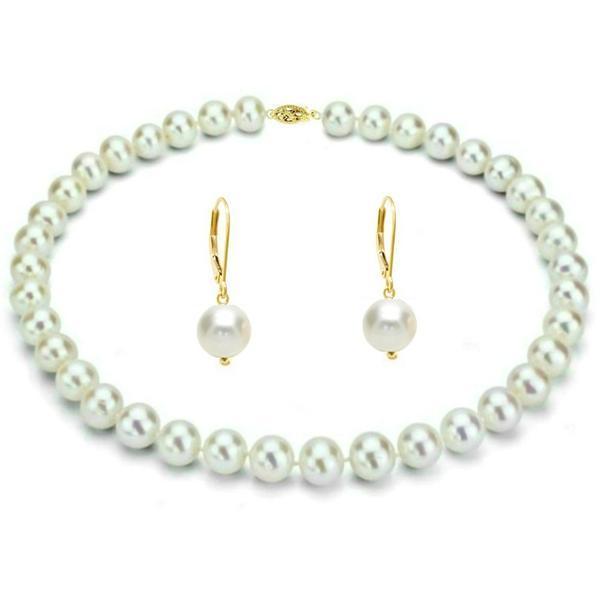 Set Business Colier si Cercei Aur 14k si Perle Albe Premium – Cadouri si perle