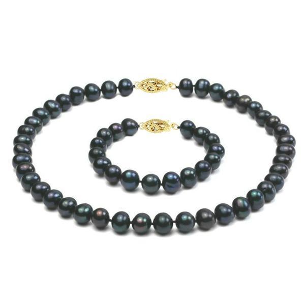 Set Aur 14k si Perle Naturale Negre Mari – Cadouri si perle
