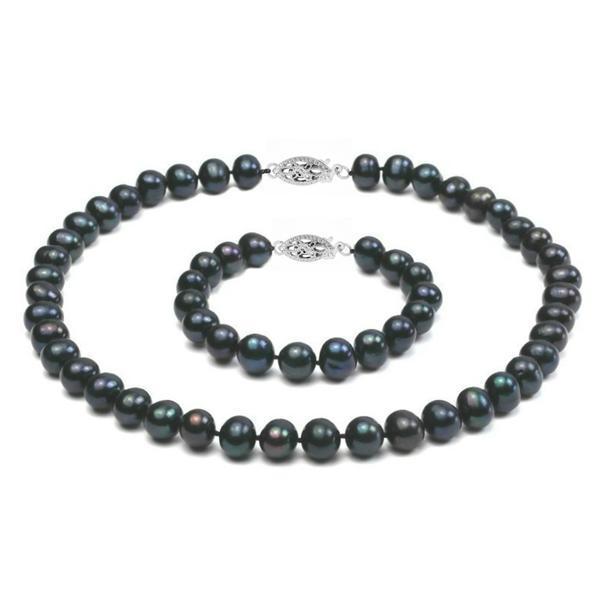 Set Aur Alb 14k si Perle Naturale Negre Mari – Cadouri si perle