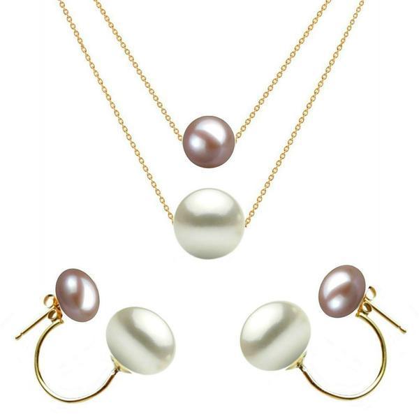 Set Dublu Aur 14 karate si Perle Naturale Premium Lavanda si Albe – Cadouri si perle