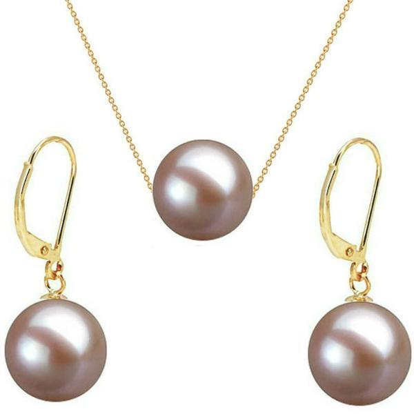 Set Aur Galben 14 karate cu Perle Naturale Premium Lavanda – Cadouri si perle