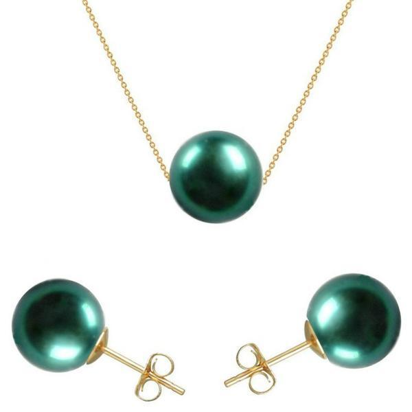 Set Aur 14 karate cu Perle Naturale Premium Verde Smarald – Cadouri si perle