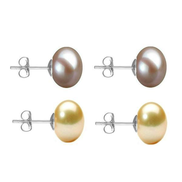 Set Cercei Aur Alb cu Perle Naturale Lavanda si Crem de 10 mm – Cadouri si Perle