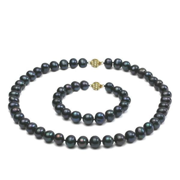Set Perle Naturale Negre Mari cu Inchizatori Sferice Aur Galben de 14 k – Cadouri si Perle