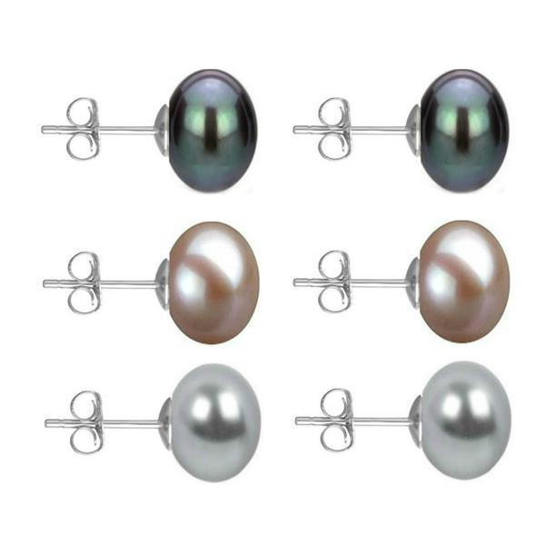 Set Cercei Aur Alb cu Perle Naturale Negre, Lavanda si Gri de 10 mm – Cadouri si Perle