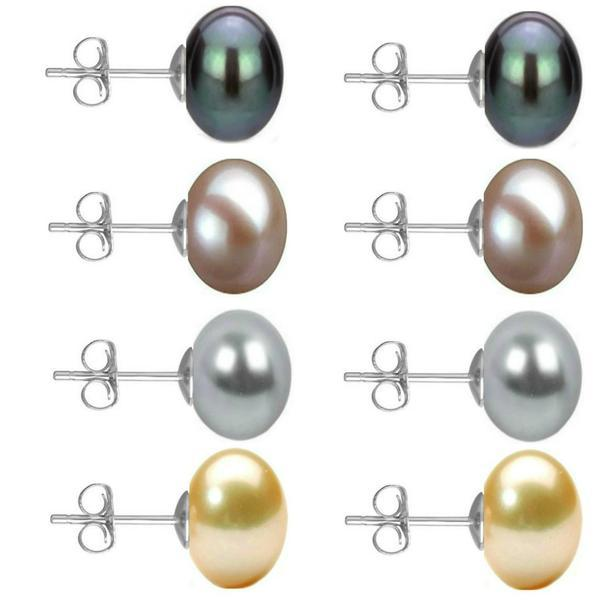 Set Cercei Aur Alb cu Perle Naturale Negre, Lavanda, Gri si Crem de 10 mm – Cadouri si Perle