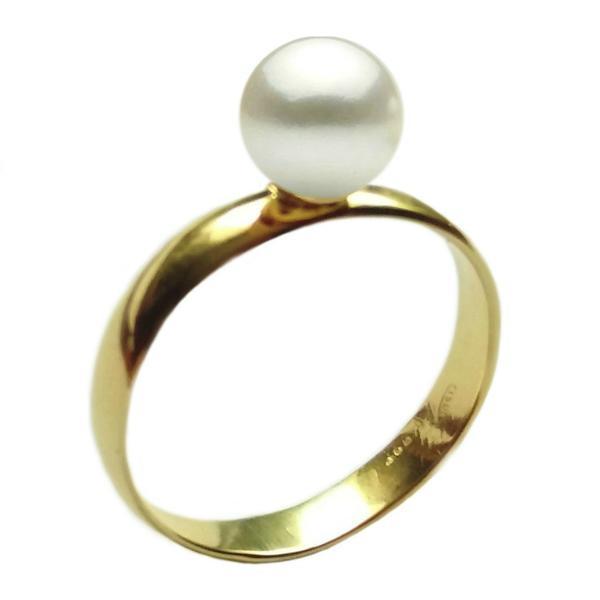 Inel din Aur cu Perla Naturala Premium Alba, 14 karate, 18.2 mm diametru – Cadouri si perle