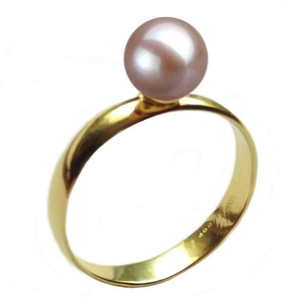 Inel din Aur cu Perla Naturala Premium Lavanda, 14 karate, 15.7 mm diametru – Cadouri si perle