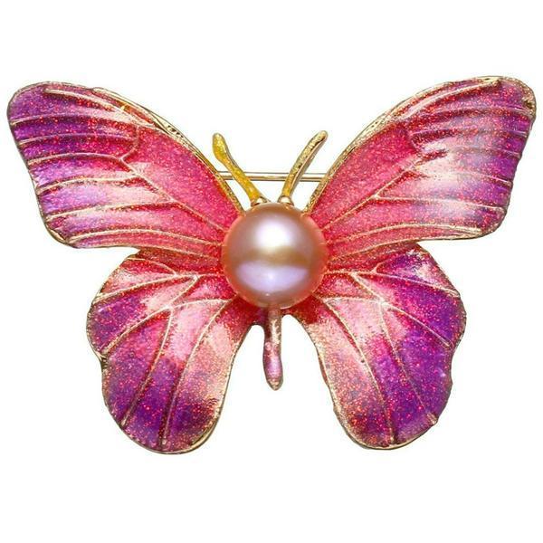 Brosa Pandantiv Fluture Mov cu Perla Naturala Crem de 8 mm – Cadouri si perle