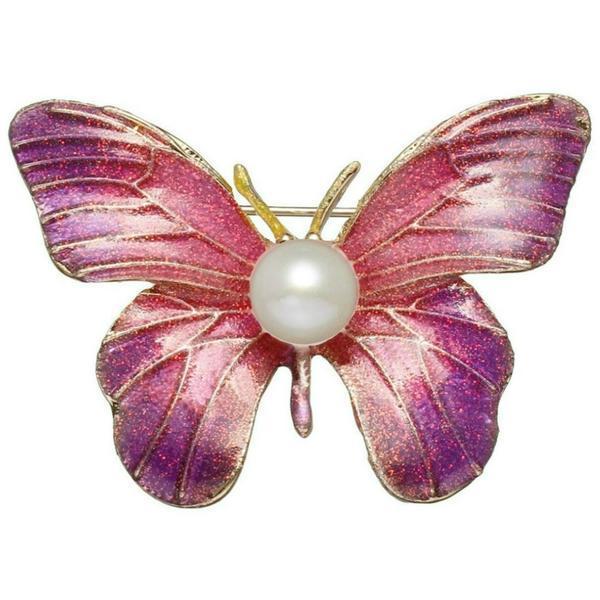 Brosa Pandantiv Fluture Mov cu Perla Naturala Alba de 8 mm – Cadouri si perle