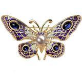 Brosa Pandantiv Fluture Mov Ochi de Pisica cu Perla Naturala Lavanda de 8 mm  - Cadouri si perle