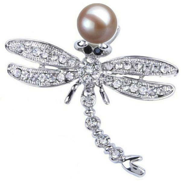 Brosa Pandantiv Libelula cu Perla Naturala Lavanda si Zirconii – Cadouri si perle