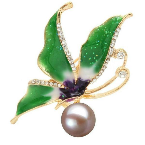 Brosa Pandantiv Fluture Verde cu Perla Naturala Lavanda – Cadouri si perle