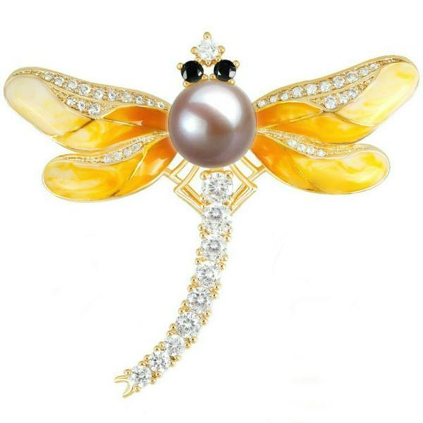 Brosa Pandantiv Libelula Galbena cu Perla Naturala Lavanda si Zirconii – Cadouri si perle